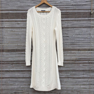 COVINGTON . WINTER WHITE CABLE SWEATER DRESS